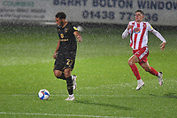 Jay Bird of MK Dons F.C. in the heavy rain during Stevenage vs MK Dons, EFL Trophy Football at the Lamex Stadium on 6th October 2020