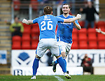 St Johnstone v Kilmarnock...07.11.15  SPFL  McDiarmid Park, Perth<br /> Chris Kane celebrates his goal with Lim Craig<br /> Picture by Graeme Hart.<br /> Copyright Perthshire Picture Agency<br /> Tel: 01738 623350  Mobile: 07990 594431