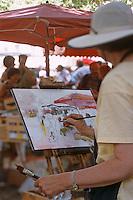 Europe/France/Languedoc-Roussillon/30/Gard/Uzès: Peintre un jour de marché sur la place aux Herbes