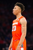 NEW YORK, NY - Sunday December 13, 2015: Malachi Richardson (#23) of Syracuse looks on from outside the arc.  St. John's defeats Syracuse 84-72 during the NCAA men's basketball regular season at Madison Square Garden in New York City.