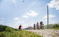 Marcus Burghardt (DEU/BORA Hansgrohe), Jasper Stuyven (BEL/Trek Segafredo) and Fernando Gaviria (COL/Quick Step Floors) in front of the peloton. <br /> <br /> Stage 9: Arras Citadelle > Roubaix (154km)<br /> <br /> 105th Tour de France 2018<br /> ©kramon