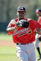 Pitcher Francisco Rondon (46) of the Atlanta Braves farm system in a Minor League Spring Training workout on Tuesday, March 17, 2015, at the ESPN Wide World of Sports Complex in Lake Buena Vista, Florida. (Tom Priddy/Four Seam Images)