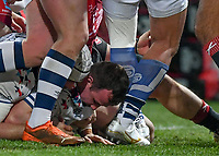 12th February 2021; Kingsholm Stadium, Gloucester, Gloucestershire, England; English Premiership Rugby, Gloucester versus Bristol Bears; Bryan Byrne of Bristol Bears scores his try