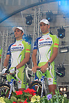 Liquigas-Cannondale team riders Ivan Basso and Vincenzo Nibali (ITA) on stage at the Team Presentation Ceremony before the 2012 Tour de France in front of The Palais Provincial, Place Saint-Lambert, Liege, Belgium. 28th June 2012.<br /> (Photo by Eoin Clarke/NEWSFILE)