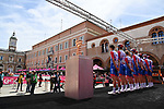 Groupama-FDJ at sign on before the start of Stage 13 of the 2021 Giro d'Italia, running 198km from Ravenna to Verona, Italy. 21st May 2021.  <br /> Picture: LaPresse/Massimo Paolone | Cyclefile<br /> <br /> All photos usage must carry mandatory copyright credit (© Cyclefile | LaPresse/Massimo Paolone)