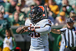 Oklahoma State Cowboys offensive lineman Brett Wilson (58) in action during the game between the OSU Cowboys and the Baylor Bears at the McLane Stadium in Waco, Texas.
