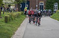Jesús Hernández (ESP/Trek-Segafredo) pulling the peloton along<br /> <br /> 52nd Amstel Gold Race (1.UWT)<br /> 1 Day Race: Maastricht › Berg en Terblijt (264km)