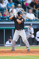 J.D. Davis (36) of the Quad Cities River Bandits at bat against the Bowling Green Hot Rods at Bowling Green Ballpark on July 26, 2014 in Bowling Green, Kentucky.  The River Bandits defeated the Hot Rods 9-2.  (Brian Westerholt/Four Seam Images)