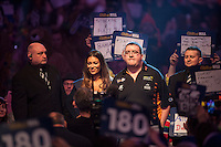 29.12.2014.  London, England.  William Hill World Darts Championship.  Stephen Bunting (27) [ENG] makes his way to the stage before his match against James Wade (6) [ENG]. Bunting won the match 3-1