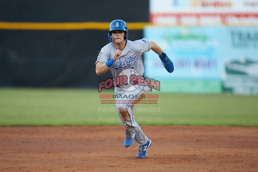 Michael Massey (6) of the Burlington Royals hustles towards third base against the Pulaski Yankees at Calfee Park on September 1, 2019 in Pulaski, Virginia. The Royals defeated the Yankees 5-4 in 17 innings. (Brian Westerholt/Four Seam Images)