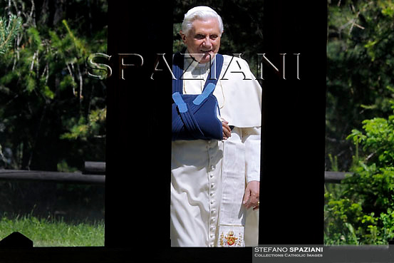 Pope Benedict XVI arrives to to meet a representation of Italian armed forces before leaving from his summer retreat at Les Combes d'Introd, in Val d'Aosta region northern Italy, on July 29, 2009