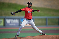 Batavia Muckdogs pitcher Edison Suriel (1) during a NY-Penn League game against the West Virginia Black Bears on August 29, 2019 at Monongalia County Ballpark in Morgantown, New York.  West Virginia defeated Batavia 5-4 in ten innings.  (Mike Janes/Four Seam Images)