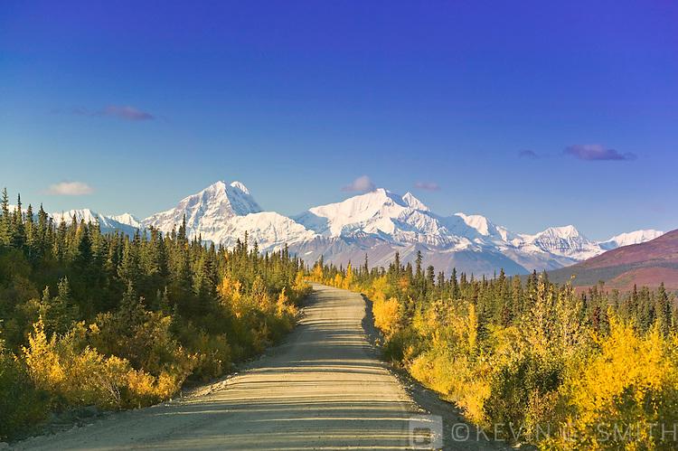 The south side of the Alaska Range and the Denali Highway, fall, Alaska, USA.