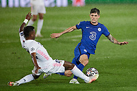April 27th 2021; Alfredo Di Stefano Stadium, Madrid, Spain;  UEFA Champions League. Vinicius Jr. of Real Madrid tackles Christian Pulisic of Chelsea FC during the Champions League match, semifinals between Real Madrid and Chelsea FC played at Alfredo Di Stefano Stadium