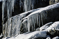 Icycles hanging from Rock Face, British Columbia, Canada