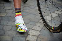 Liège-Bastogne-Liège 2013..World Champion Philippe Gilbert (BEL) is equiped accordingly