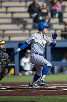 San Jose State Spartans designated hitter Blake Berry (42) follows through on his swing against the Michigan Wolverines on March 27, 2019 in Game 1 of the NCAA baseball doubleheader at Ray Fisher Stadium in Ann Arbor, Michigan. Michigan defeated San Jose State 1-0. (Andrew Woolley/Four Seam Images)