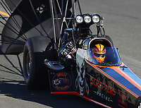 Jul 29, 2017; Sonoma, CA, USA; NHRA top fuel driver Mike Salinas during qualifying for the Sonoma Nationals at Sonoma Raceway. Mandatory Credit: Mark J. Rebilas-USA TODAY Sports