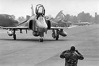- F-4 Phantom II fighter-bomber of the US Air Force on the Italian air base of Ghedi (Brescia), September 1988<br /> <br /> <br /> <br /> - Cacciabombardiere F-4 Phantom II dell'US Air Force sulla base aerea italiana di Ghedi (Brescia), settembre 1988