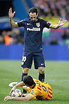 Atletico de Madrid's Juanfran Torres (t) and FC Barcelona's Luis Suarez during Champions League 2015/2016 Quarter-Finals 2nd leg match. April 13,2016. (ALTERPHOTOS/Acero)