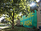 """Sept. 22, 2012; Zahm Hall is covered with its traditional """"Here Come The Irish"""" sign...Photo by Matt Cashore/University of Notre Dame"""