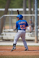 New York Mets Nick Sergakis (55) bats during a minor league Spring Training game against the St. Louis Cardinals on March 28, 2017 at the Roger Dean Stadium Complex in Jupiter, Florida.  (Mike Janes/Four Seam Images)