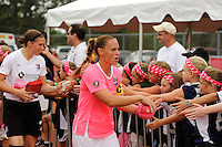 Christie Rampone (3) of Sky Blue FC greets fans before the game. Sky Blue FC and the Washington Freedom played to a 1-1 tie during a Women's Professional Soccer (WPS) match at Yurcak Field in Piscataway, NJ, on August 11, 2010.