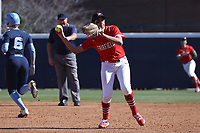 GREENSBORO, NC - FEBRUARY 22: Tahlia Brown #11 of Fairfield University throws to first base for an out during a game between Fairfield and North Carolina at UNCG Softball Stadium on February 22, 2020 in Greensboro, North Carolina.