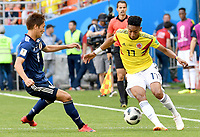 SARANSK - RUSIA, 19-06-2018: Johan MOJICA (Der) jugador de Colombia disputa el balón con Genki HARAGUCHI (Izq) jugador de Japón durante partido de la primera fase, Grupo H, por la Copa Mundial de la FIFA Rusia 2018 jugado en el estadio Mordovia Arena en Saransk, Rusia. /  Johan MOJICA (R) player of Colombia fights the ball with Genki HARAGUCHI (L) player of Japan during match of the first phase, Group H, for the FIFA World Cup Russia 2018 played at Mordovia Arena stadium in Saransk, Russia. Photo: VizzorImage / Julian Medina / Cont