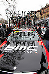 BMC Racing Team lined up at the start of the 104th edition of the Milan-San Remo cycle race at Castello Sforzesco in Milan, 17th March 2013 (Photo by Eoin Clarke 2013)