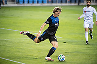 SAN JOSE, CA - NOVEMBER 04: Florian Jungwirth #23 of the San Jose Earthquakes passes the ball during a game between Los Angeles FC and San Jose Earthquakes at Earthquakes Stadium on November 04, 2020 in San Jose, California.