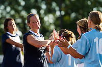 Sky Blue FC midfielder Brittany Bock (10) greets fans prior to playing the Washington Spirit . Sky Blue FC defeated the Washington Spirit 1-0 during a National Women's Soccer League (NWSL) match at Yurcak Field in Piscataway, NJ, on July 6, 2013.