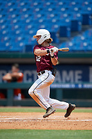 Cameron Cauley (12) of Barbers Hill High School in Mont Belvieu, TX during the Perfect Game National Showcase at Hoover Metropolitan Stadium on June 20, 2020 in Hoover, Alabama. (Mike Janes/Four Seam Images)
