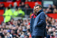 Swansea City manager Carlos Carvalhal speaks with First Team Coach Joao Mario during the Premier League match between Manchester United and Swansea City at the Old Trafford, Manchester, England, UK. Saturday 31 March 2018