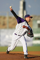Kyle Greenwalt of the Lancaster JetHawks during game against the Visalia Rawhide at Clear Channel Stadium in Lancaster,California on June 10, 2010. Photo by Larry Goren/Four Seam Images