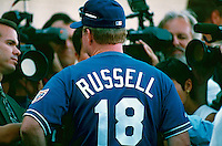 Los Angeles Dodgers Manager Bill Russell during a game at Dodger Stadium in Los Angeles, California during the 1997 season.(Larry Goren/Four Seam Images)