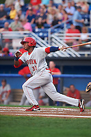 Auburn Doubledays first baseman Diomedes Eusebio (31) at bat during a game against the Batavia Muckdogs on September 5, 2015 at Dwyer Stadium in Batavia, New York.  Batavia defeated Auburn 6-3.  (Mike Janes/Four Seam Images)