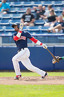 Joseph Monge (3) of the Salem Red Sox follows through on his swing against the Lynchburg Hillcats at LewisGale Field at Salem Memorial Baseball Stadium on August 7, 2016 in Salem, Virginia.  The Red Sox defeated the Hillcats 11-2.  (Brian Westerholt/Four Seam Images)