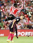 Athletic de Bilbao's Inaki Williams (t) and FC Barcelona's Denis Suarez during La Liga match. August 28,2016. (ALTERPHOTOS/Acero)
