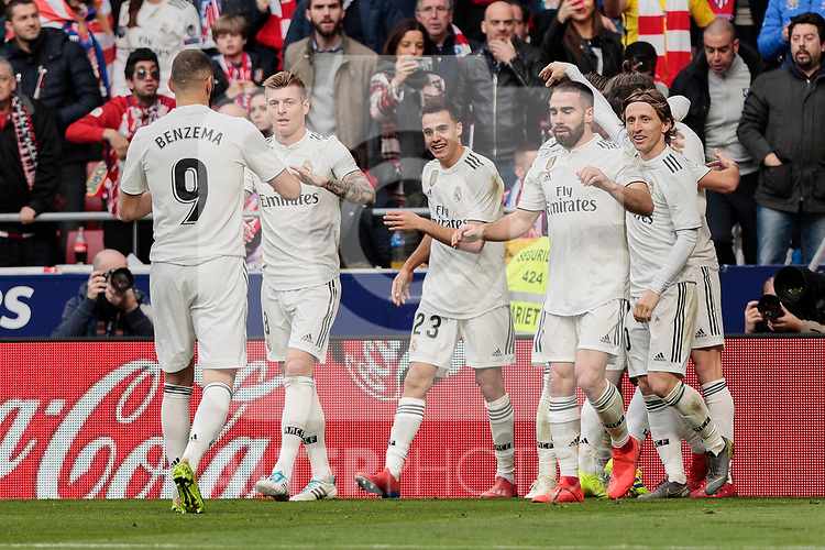 Real Madrid's players celebrate goal during La Liga match between Atletico de Madrid and Real Madrid at Wanda Metropolitano Stadium in Madrid, Spain. February 09, 2019. (ALTERPHOTOS/A. Perez Meca)