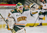 21 November 2017: University of Vermont Catamount goaltender Stefanos Lekkas warms up prior to facing the University of Connecticut Huskies at Gutterson Fieldhouse in Burlington, Vermont. The Huskies defeated the Catamounts 4-1 in Hockey East play. Mandatory Credit: Ed Wolfstein Photo *** RAW (NEF) Image File Available ***