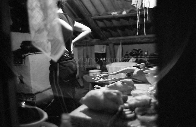 ROMANIA, Maramures, Ieud, July 2002..Wedding cooking preparation..ROUMANIE, Maramures, Ieud, Juillet 2002..Prépartion du repas de noce..© Bruno Cogez
