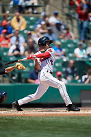 Rochester Red Wings center fielder Zack Granite (2) bats during a game against the Scranton/Wilkes-Barre RailRiders on June 7, 2017 at Frontier Field in Rochester, New York.  Scranton defeated Rochester 5-1.  (Mike Janes/Four Seam Images)