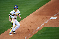 Michigan Wolverines left fielder Matt Ramsay (46) leads off third base during the first game of a doubleheader against the Canisius College Golden Griffins on June 20, 2016 at Tradition Field in St. Lucie, Florida.  Michigan defeated Canisius 6-2.  (Mike Janes/Four Seam Images)