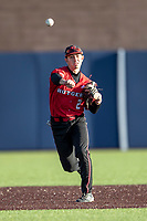 Rutgers Scarlet Knights shortstop Kevin Welsh (2) makes a throw to first base against the Michigan Wolverines on April 26, 2019 in the NCAA baseball game at Ray Fisher Stadium in Ann Arbor, Michigan. Michigan defeated Rutgers 8-3. (Andrew Woolley/Four Seam Images)