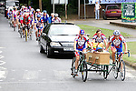 Pix: Shaun Flannery/shaunflanneryphotography.com...COPYRIGHT PICTURE>>SHAUN FLANNERY>01302-570814>>07778315553>>..29th July 2010............Doncaster cyclist Bob Waddington made his final journey today (Thursday) to Doncaster Crematorium with his coffin hitched to the side of a tandem..His cortege was followed by friends from the Doncaster Wheelers cycle club..Story: Martyn Sharpe