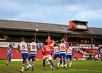 2nd April 2021, Oakwell Stadium, Barnsley, Yorkshire, England; English Football League Championship Football, Barnsley FC versus Reading; Jordan Williams of Barnsley header from corner goes over the bar