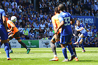 Joe Ralls of Cardiff City has a shot on goal from distance during the Sky Bet Championship match between Cardiff City and Reading at The Cardiff City Stadium, Wales, UK. Sunday 06 May 2018