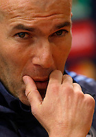 Real Madrid's coach Zinedine Zidane attends a press conference ahead of the Champions League round of 16 first leg football match against Roma, at Rome's Olympic stadium, 16 February 2016.<br /> UPDATE IMAGES PRESS/Riccardo De Luca