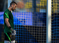 Pau Lopez of AS Roma reacts during the warm up prior to the friendly football match between Frosinone calcio and AS Roma at Benito Stirpe stadium in Frosinone (Italy), September 9th, 2020. AS Roma won 4-1 over Frosinone Calcio. Photo Andrea Staccioli / Insidefoto